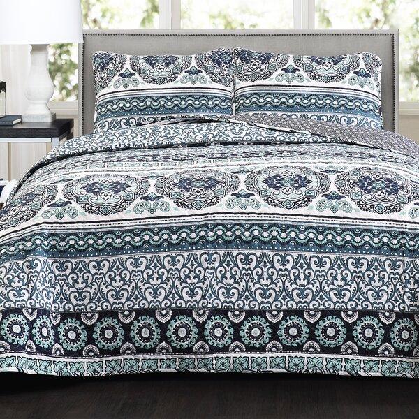 Vivian Stripe Cotton 3 Piece Reversible Quilt Set by World Menagerie