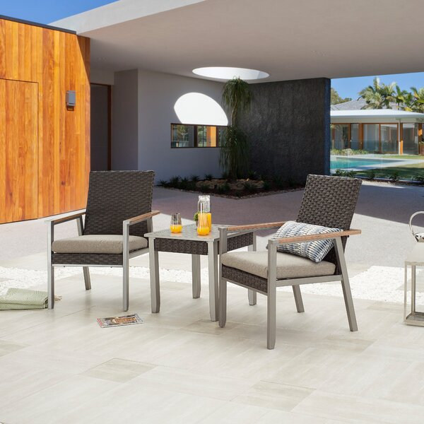 Semahat Outdoor 3 Piece Seating Group with Cushions