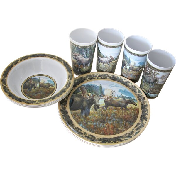 Moose Melamine 12 Piece Dinnerware Set, Service for 4 by MotorHead Products