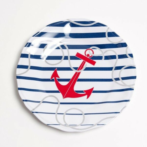Yacht and Home 9 Dockside Melamine Non-Skid Salad/Dessert Plate (Set of 6) by Galleyware Company