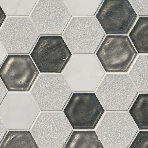 Circa Zirconia Hexagon 3 x 3 Glass/Stone Mosaic Tile in White by MSI