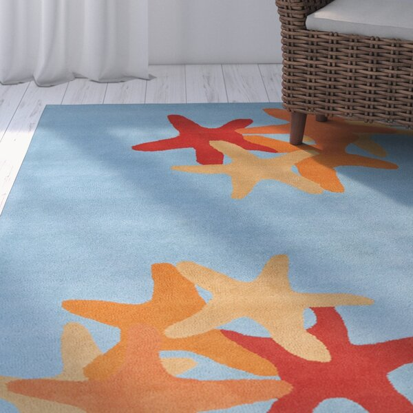 Purdue Hand Tufted Wool Blue/Red Area Rug by Rosecliff Heights