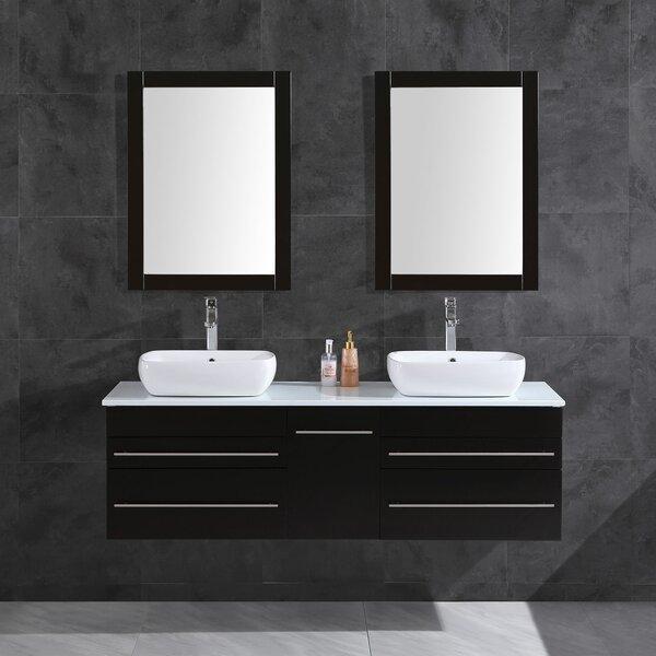 Seltzer 60 Wall-Mounted Double Bathroom Vanity Set with Mirror