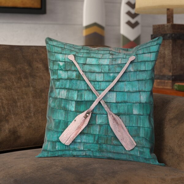 Brushton Rustic Oars Square Pillow Cover by Loon Peak