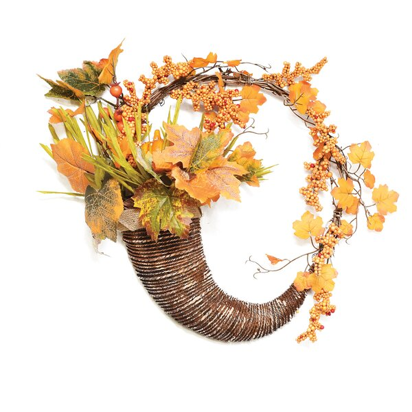 Autumn Harvest 18 Artificial Pumpkins, Berries and Leaves Cornucopia Wreath by Northlight Seasonal