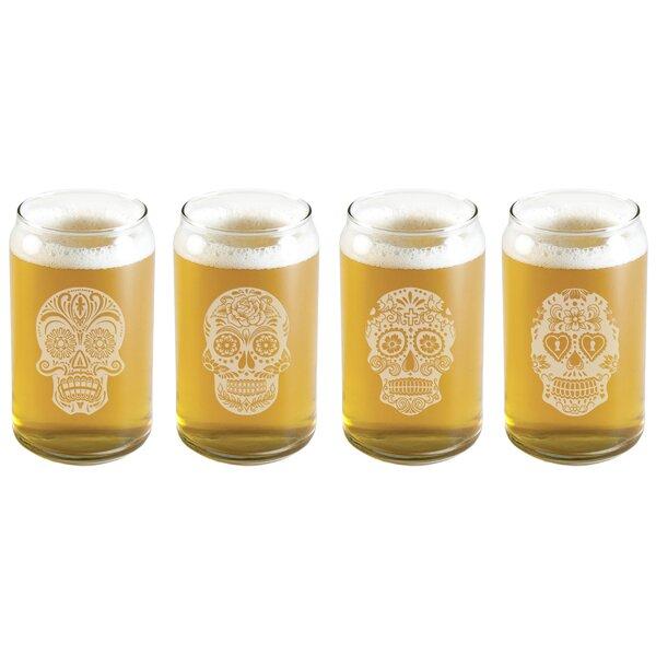 4 Piece Dia De Los Muertos 16 oz. Beer Glass Set by Susquehanna Glass