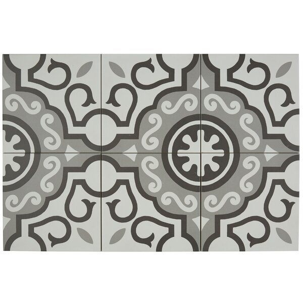 Encausto 8 x 8 Porcelain Field Tile in White/Gray