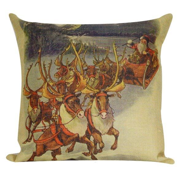 Santa with Reindeer Throw Pillow by Golden Hill Studio