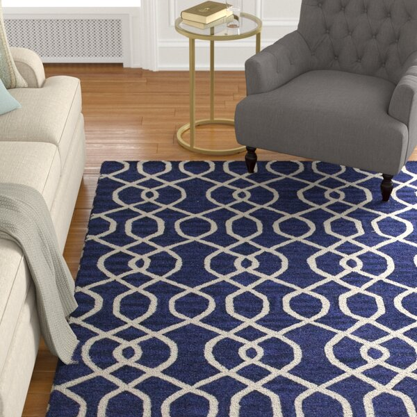 Hernandes Hand-Tufted Navy Area Rug by Alcott Hill