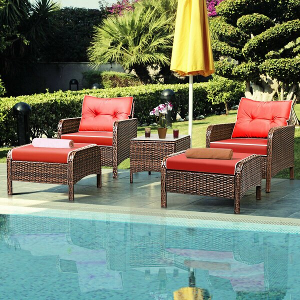 Gilliland 5 Piece Rattan Sofa Seating Group with Cushions by Breakwater Bay