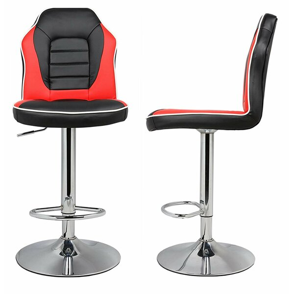Marrs Extra Comfort Modern Racing Seat Adjustable Height Swivel Bar Stool (Set of 2) by Orren Ellis