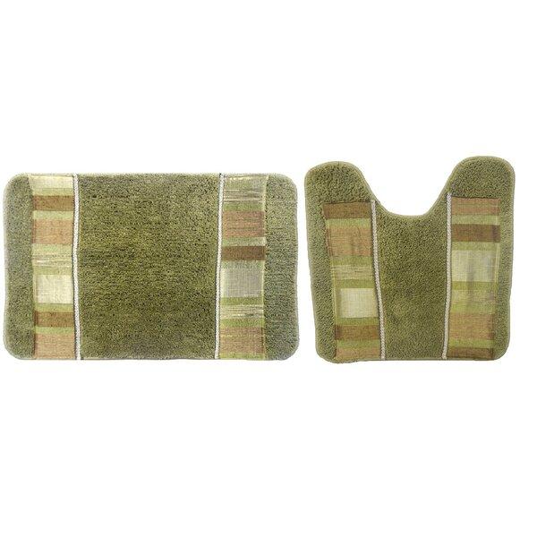 Anette Decorative Rectangle Non-Slip Striped piece Bath Rug Set