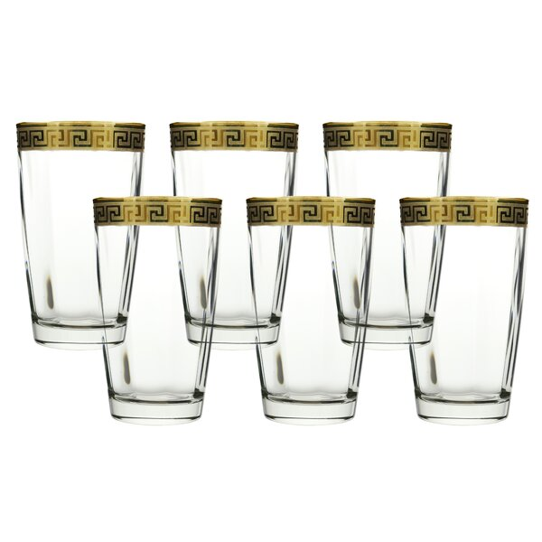 High Ball Glass with Versace Rim Decoration (Set of 6) by Three Star Im/Ex Inc.