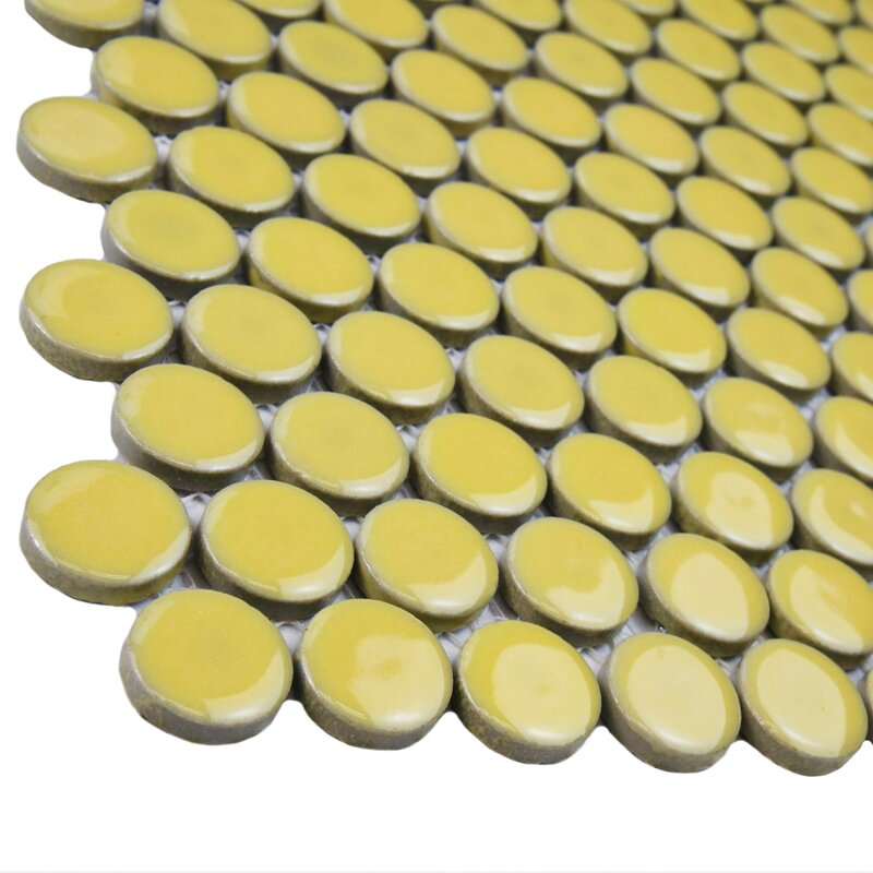 Penny 0 8 X Porcelain Mosaic Tile In Vintage Yellow