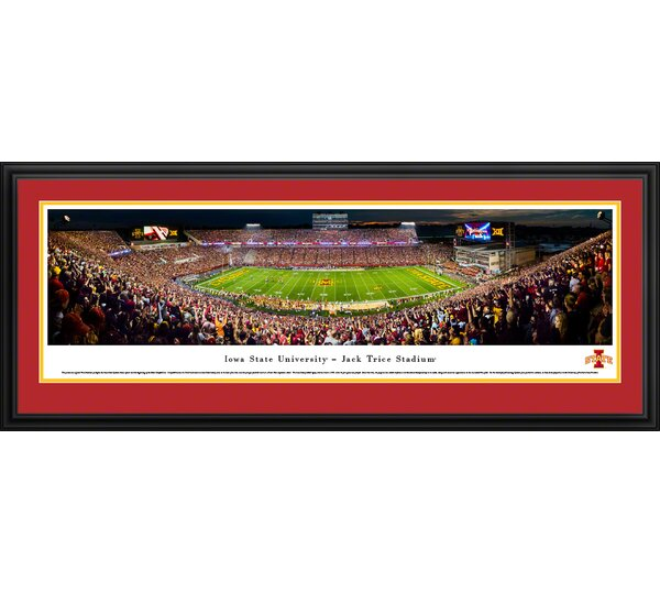 NCAA Iowa State Cyclones Night Football 50 Yard Line Framed Photographic Print by Blakeway Worldwide Panoramas, Inc