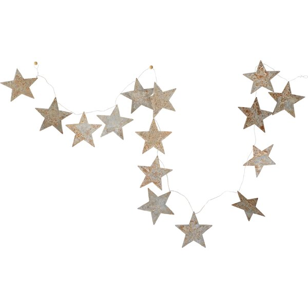 White Christmas Tin Star Garland on Wire by Creative Co-Op