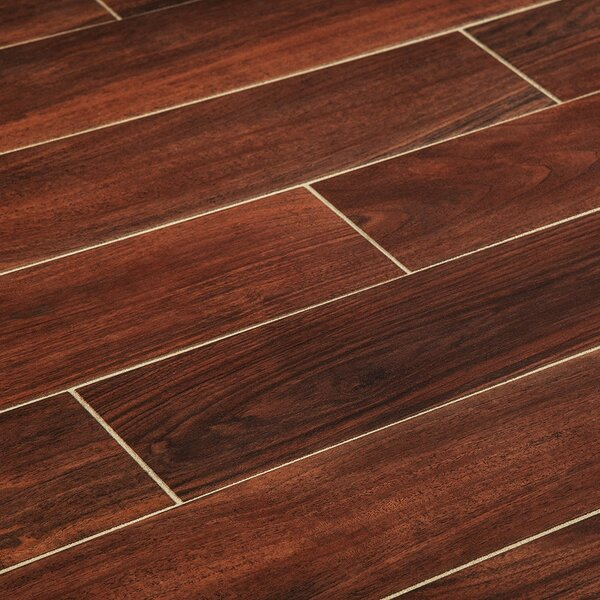 6 x 36 Porcelain Wood Look Tile in Cherry by Manor