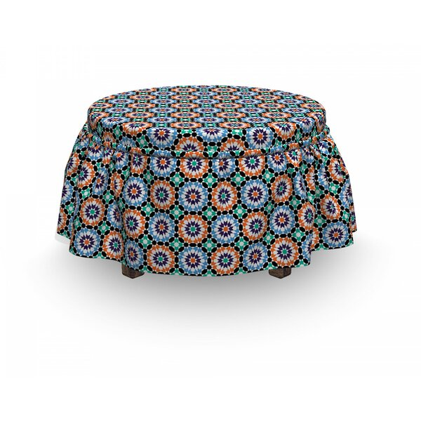 Moroccan Mosaic Circular Design 2 Piece Box Cushion Ottoman Slipcover Set By East Urban Home