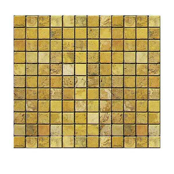 Tumbled 1 x 1 Natural Stone Mosaic Tile in Gold by QDI Surfaces