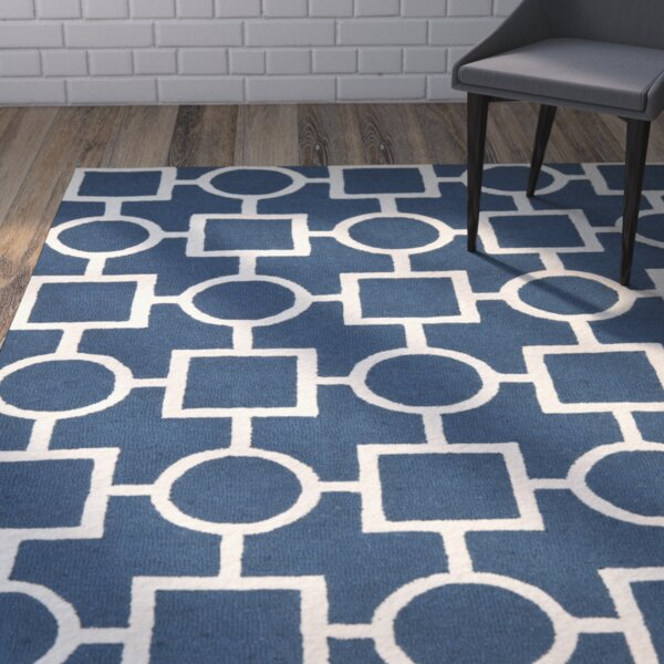 Harbin Blue Navy / Ivory Area Rug by Brayden Studio