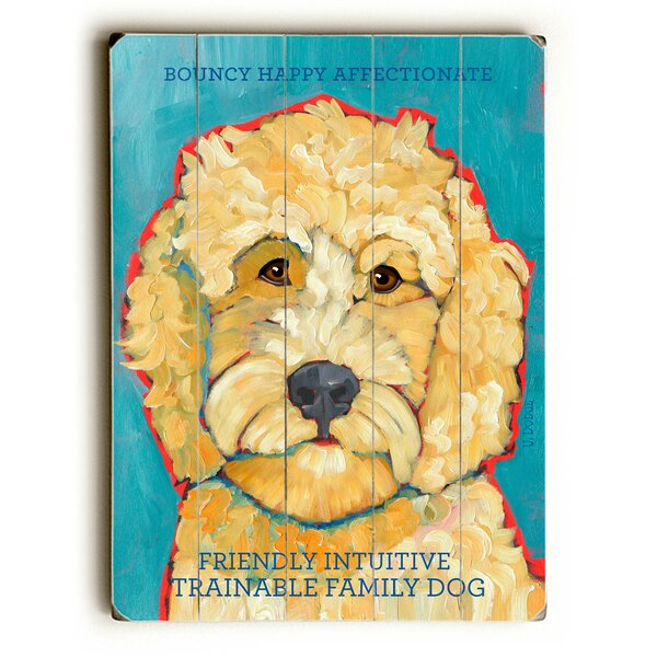 Happy Goldendoodle Drawing Print Multi-Piece Image on Wood by Artehouse LLC