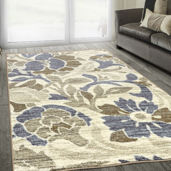 Jolie Printed Non-Slip Blue/Beige Area Rug by Charlton Home