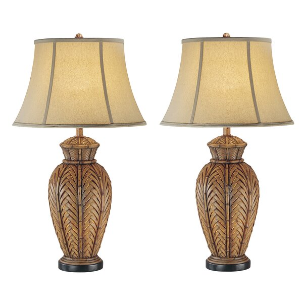 Reyes Wicker 33 Table Lamp (Set of 2) by Bay Isle Home