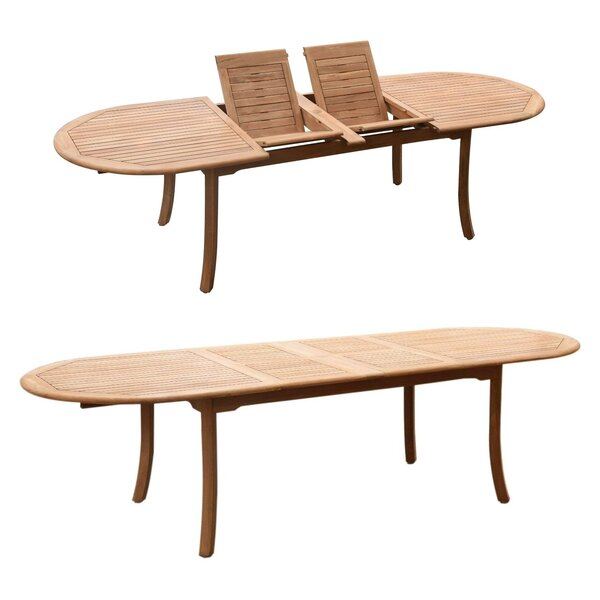 Issleib Extendable Teak Dining Table by Rosecliff Heights
