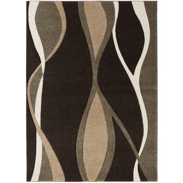Schmitt Hand-Carved Black/Brown Area Rug by Ebern Designs