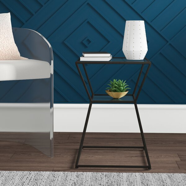 Check Price Berthelot Glass Top Frame End Table With Storage