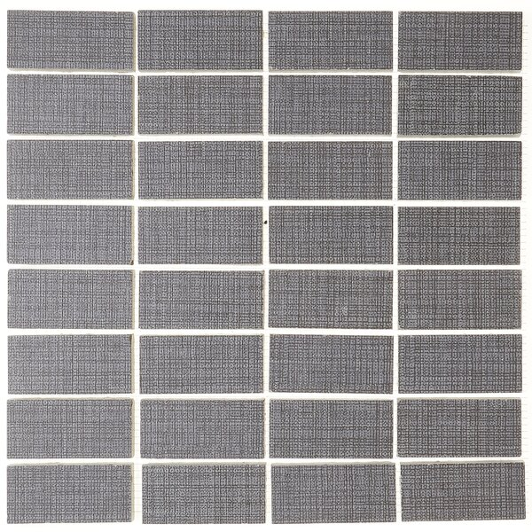 1 x 3 Ceramic Mosaic Tile in Modern Text Dark Gray by Itona Tile
