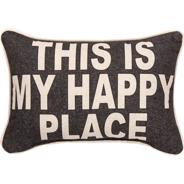 This is My Happy Place Cotton Lumbar Pillow by Manual Woodworkers & Weavers