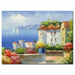 Mediterranean Villa by Rio Framed Painting Print on Wrapped Canvas by Trademark Fine Art