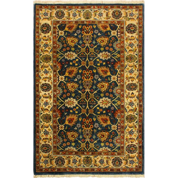 One-of-a-Kind Abagail Turkish Hand-Knotted Wool Teal/Ivory Area Rug by Isabelline