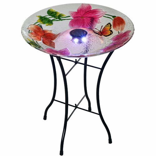 Outdoor Flower Fusion Glass Solar Bird Bath Dakota Fields