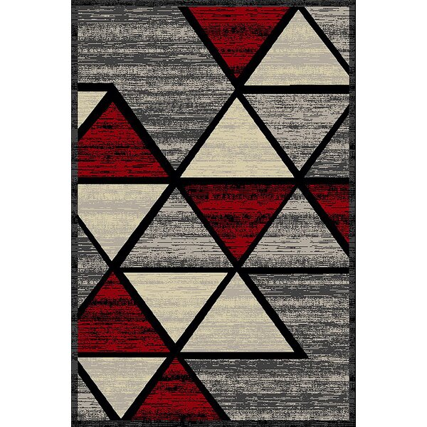 Cosper Red/Gray Area Rug by George Oliver