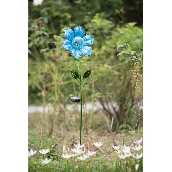 Glass Flower LED Solar Garden Stake by Sunjoy