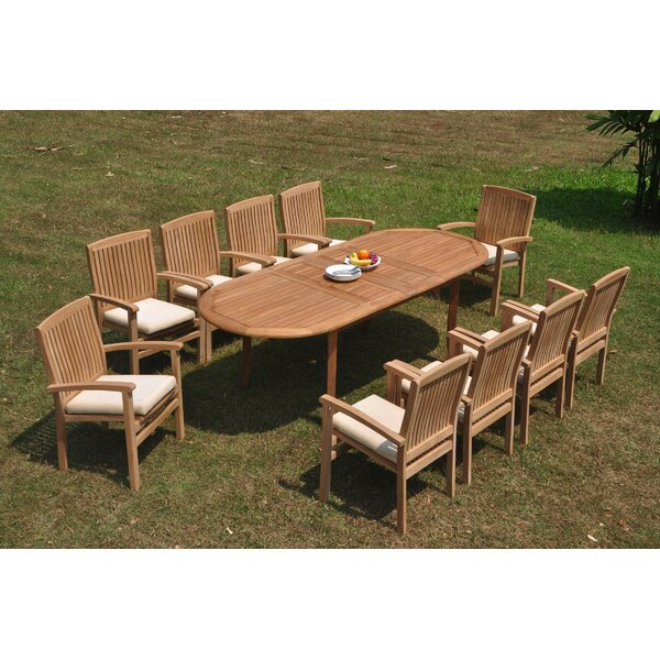 Menoher 11 Piece Teak Dining Set by Rosecliff Heights