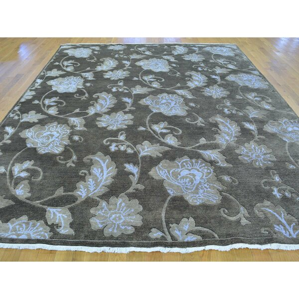 One-of-a-Kind Beverly Botanical Design Handwoven Grey Wool/Silk Area Rug by Isabelline