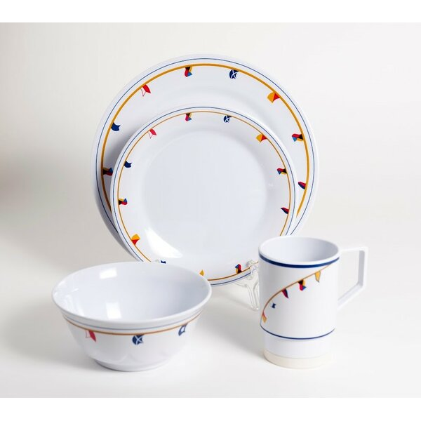 Decorated Flags Melamine 16 Piece Dinnerware Set, Service for 4 by Galleyware Company