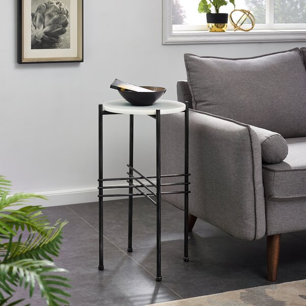 Killingworth Tall Marble End Table by Ivy Bronx