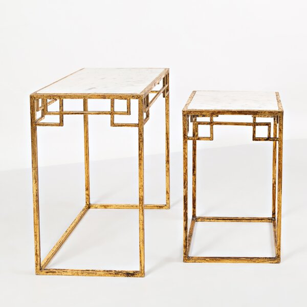 Callimont Genuine Marble Sled Nesting Table By Bungalow Rose