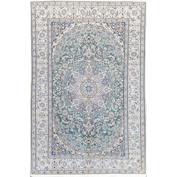 Nain Exquisite Persian Hand-Knotted Wool Baby Blue Indoor Area Rug by Mansour