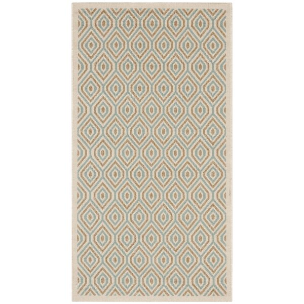 Armenta Cream Cream/Blue/Light Brown Indoor/Outdoor Area Rug by Wrought Studio