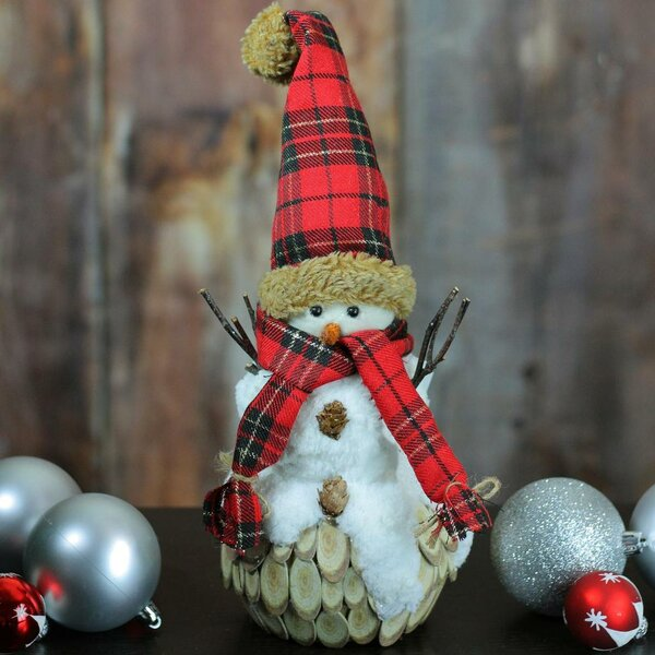 Holiday Moments Snowman with Plaid Scarf and Hat Christmas Table Top Decoration by The Holiday Aisle