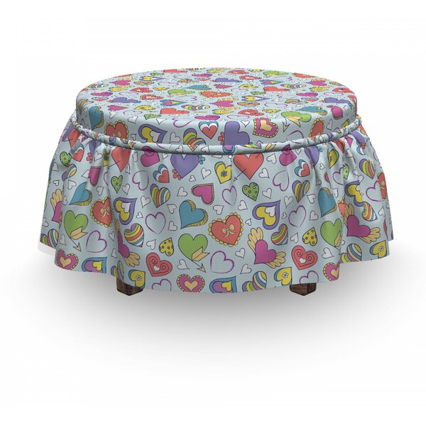 Valentines Hearts 2 Piece Box Cushion Ottoman Slipcover Set By East Urban Home