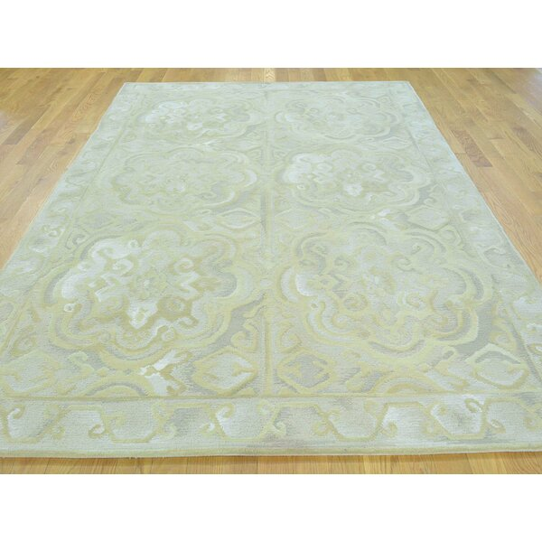 One-of-a-Kind Blazek Neo Classic Design Cut Hand-Knotted Grey Wool Area Rug by Isabelline