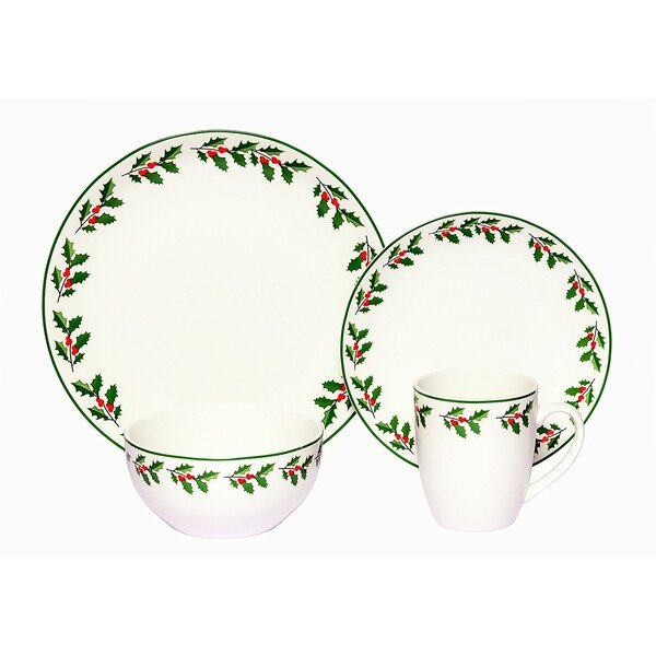 Holly Porcelain Coupe 16 Piece Dinnerware Set, Service for 4 by The Holiday Aisle