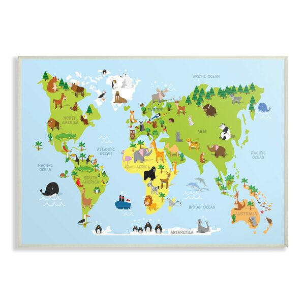 Feemster World Map Cartoon and Colorful Decorative Plaque by Harriet Bee