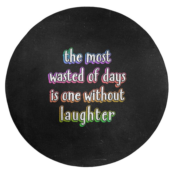 Laughter Inspirational Quote Chalkboard Style Poly Chenille Rug